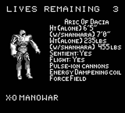 Iron Man/X-O Manowar in Heavy Metal (Game Boy)